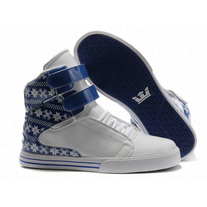 supra tk society high tops white blue pattern men skate shoes