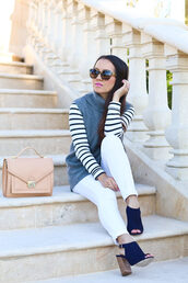 stylish petite,blogger,sweater,shirt,shoes,bag,sunglasses,jewels,make-up,nail polish,stripes,long dress,nude bag,beige,white jeans,white pants,suede boots,open toes,thick heel,stacked wood heels