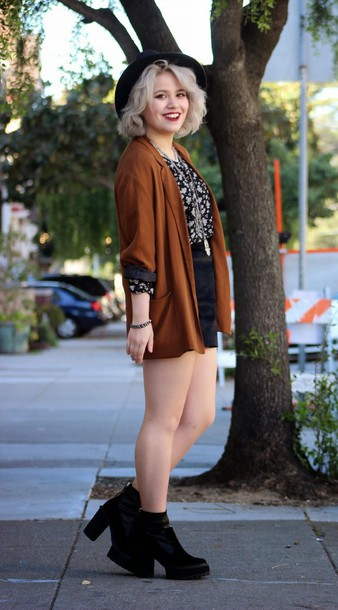 broke hell blogger top jacket skirt rust chunky boots
