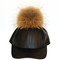 Black leather fur pom cap | created by fortune
