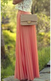 skirt,melon skirt,maxi skirt,pleated skirt,coral