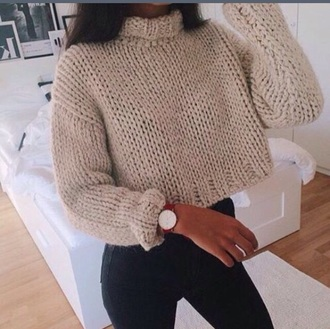 sweater cropped sweater crop tops crop cream cute tumblr