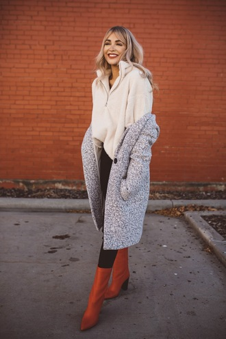 cara loren blogger sweater jeans coat shoes fall outfits grey coat orange boots boots