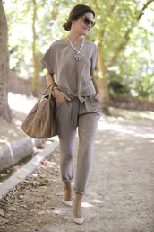 lovely pepa,t-shirt,pants,bag,jewels,shoes,sunglasses,nude,jumpsuit,all nude everything,necklace,nude pumps,jewelry,brown,brown bag,grey,all grey everything