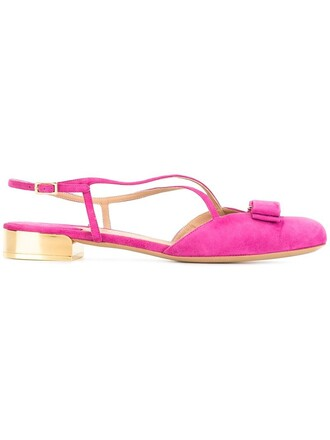 bow women sandals leather suede purple pink shoes