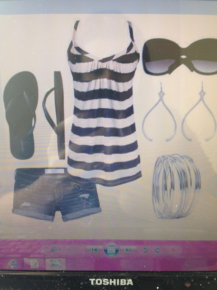 tank top blouse t-shirt shirt stripes blue and white striped