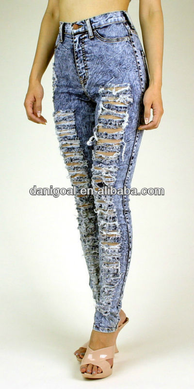 High waist acid wash ripped frayed and shred jeans, View women ...