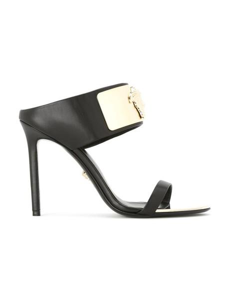 VERSACE women mules leather black shoes