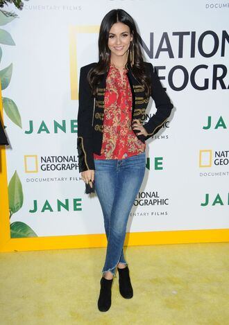 blouse jacket jeans denim fall outfits ankle boots victoria justice top shirt