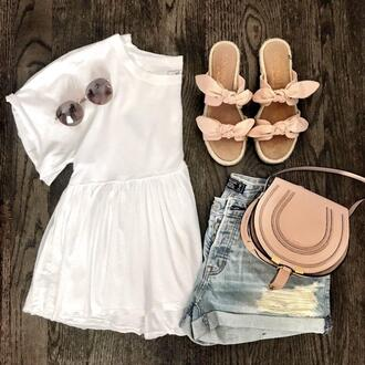 mrscasual blogger top shoes shorts bag sunglasses denim shorts sandals spring outfits summer outfits white top shoulder bag