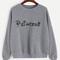 Grey letters print drop shoulder sweatshirt -shein(sheinside)