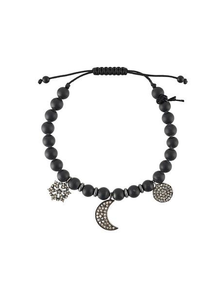 CHRISTIAN KOBAN women charm bracelet silver cotton black jewels