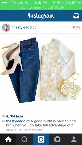 shirt gold purse jeans gold sequins nude pumps green and gold purse