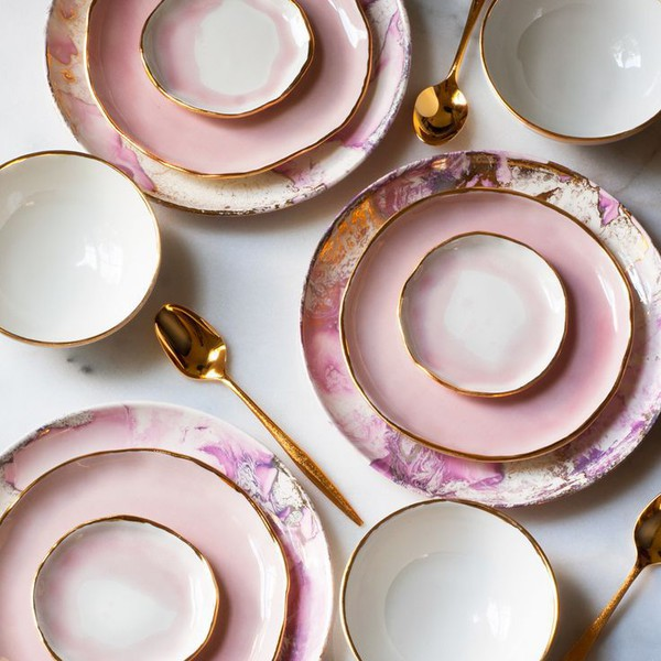 home accessory dinnerware pink pastel pastel pink gold rose