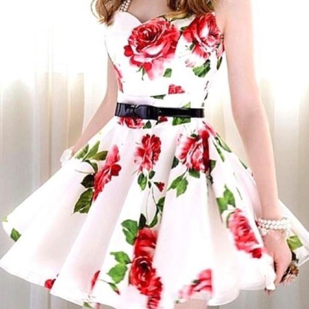 dress cute dress patterned dress summer dress red white floral floral  floral dress floral dress roses a40a01f3aa