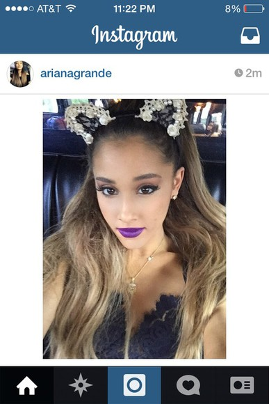 lace shirt hair accessories ariana grande cute lace lipstick mouse ears