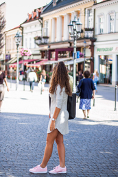 kolorowa dusza,blogger,dress,jewels,bag,shoes,pink sneakers,mini dress,long sleeve dress,watch