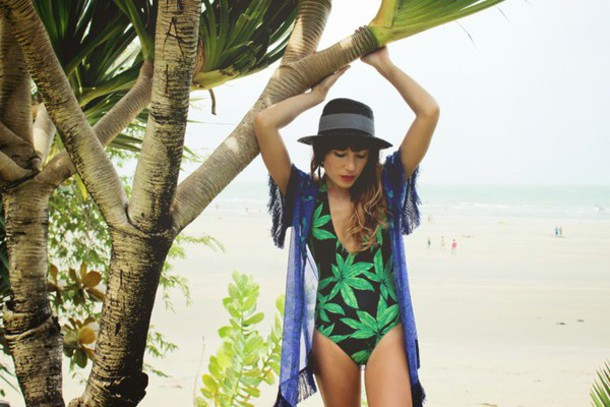 the marcy stop blogger hat weed one piece swimsuit