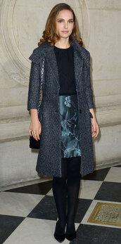skirt,natalie portman,dior,grey coat,classy,coat