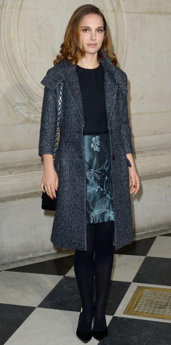 skirt natalie portman dior grey coat classy coat