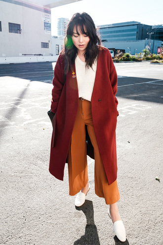 pants tumblr wide-leg pants mustard coat rust red coat top white top shoes loafers white loafers
