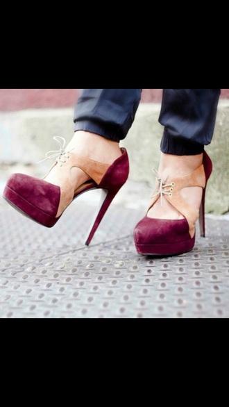 shoes heels platform pumps lace up