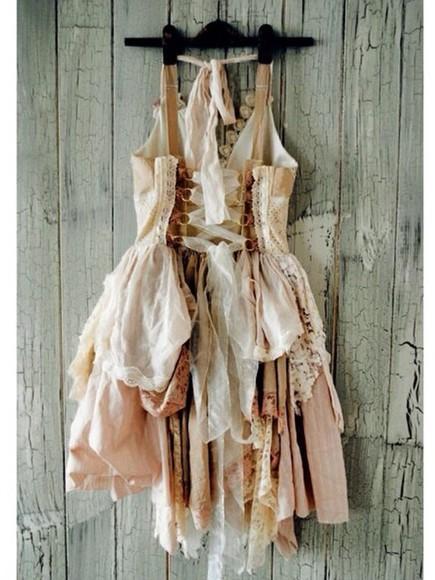 beige dress ruffled lacedress