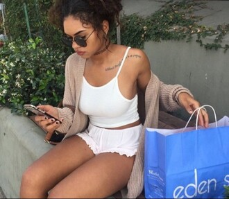 shorts mini shorts crop tank top choker necklace necklace shades sunglasses buns iphone i phone eden tumblr style white set round sunglasses cardigan ribbed cardigan tattoo