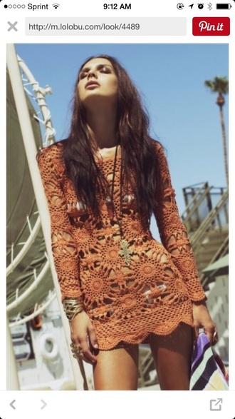 dress orange dress crochet flowers boho