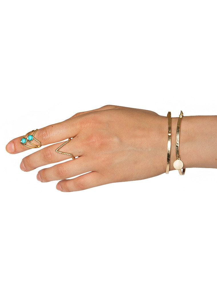 Gold stacked triangle midi rings
