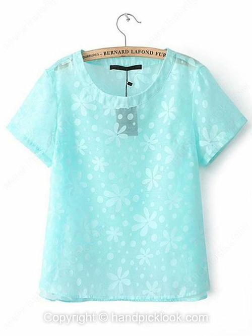 Blue Short Sleeve Flowers Print Organza T-Shirt - HandpickLook.com
