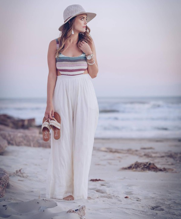 jumpsuit hat tumblr wide-leg pants white jumpsuit sandals flat sandals shoes beach sun hat