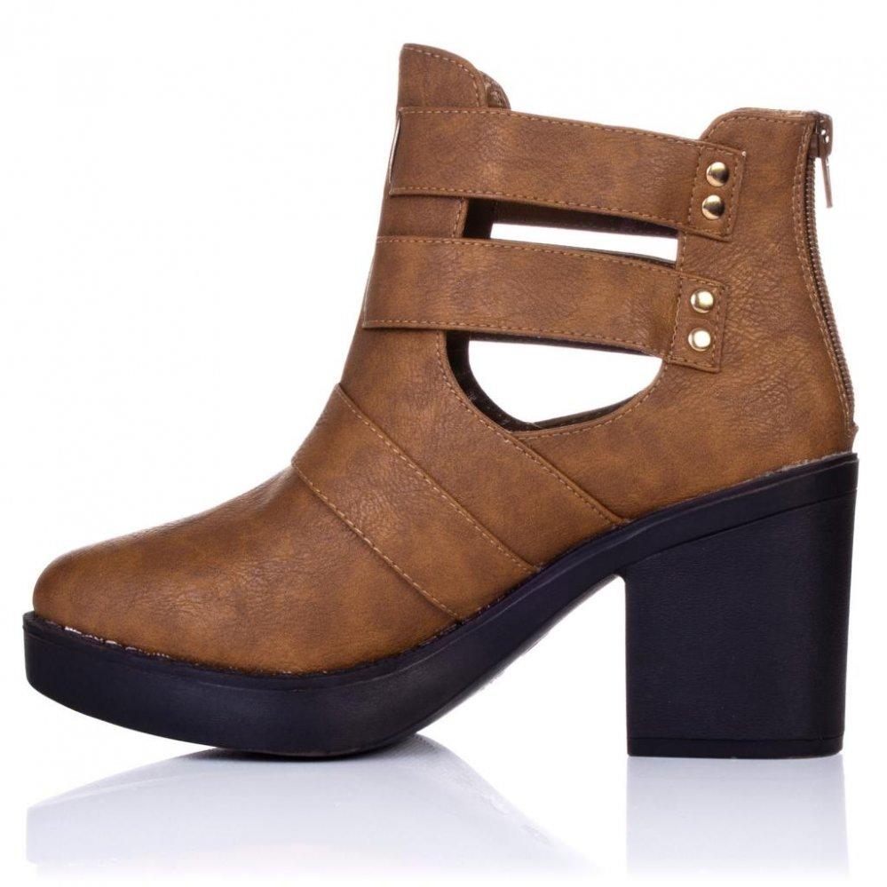 691f9db01af Buy STRUT Block Heel Biker Ankle Boots Tan Leather Style Online