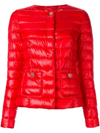 jacket puffer jacket women cotton red