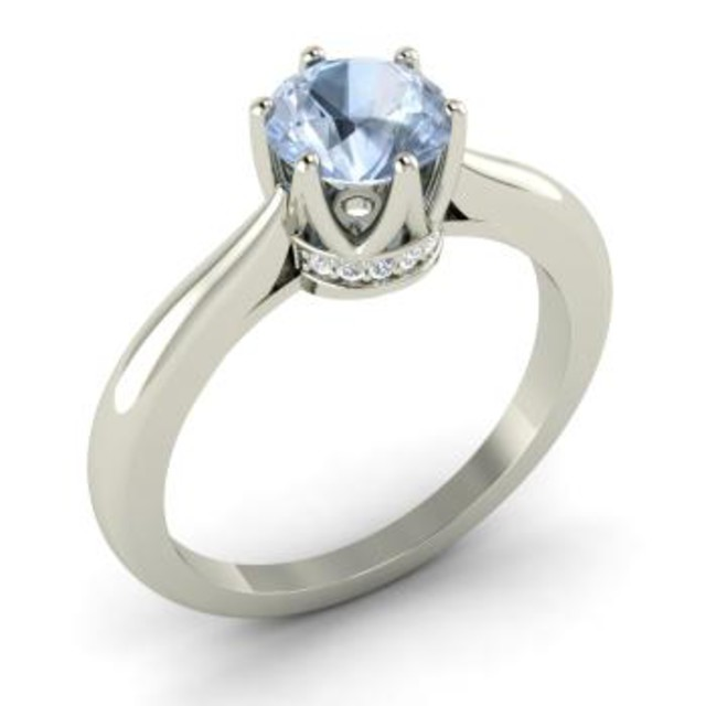 round aquamarine and vs diamond sidestone ring 1029 shop - How Much Do Wedding Rings Cost