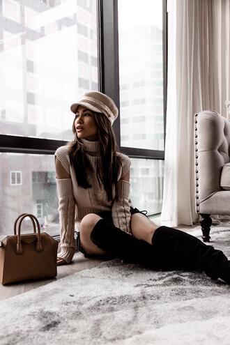 my white t blogger sweater skirt shoes bag fisherman cap handbag boots givenchy bag