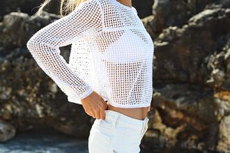 white sweater holey sweater knitted sweater holey knit sweater see through sweater white swimwear white bikini top white jeans white pants swimwear