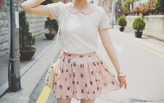skirt shirt bracelets pink black white bag a-yoseoul.tumblr blouse peter pan collar pink collar lace dress ulzzang kfashion cute collared shirt collar korean fashion pink dress owl skirt owl collared dress korean style pink skirt asian sweet cream t-shirt pretty girly feminine summer chic see through