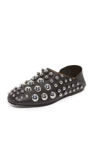 studded mules black shoes