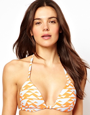 ASOS | ASOS Mix and Match Graphic Print Moulded Triangle T Back Bikini Top at ASOS