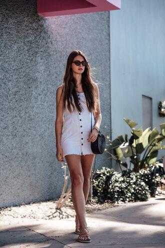 bag black bag round bag white dress mini dress sandals sunglasses