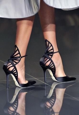 shoes heels black black heels high-heels fashion runway high end fancy