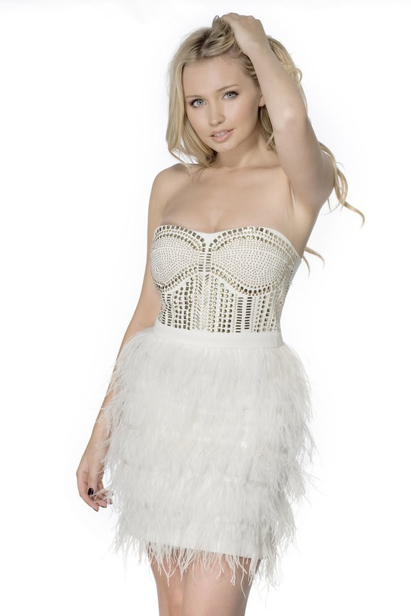 Lacey ostrich feather frock dress