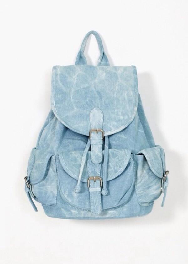 bag tumblr hipster backpack light blue hippie