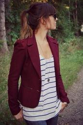 coat,burgundy blazer