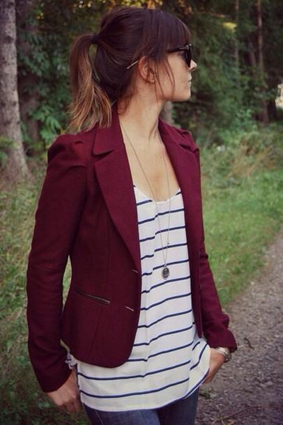 coat burgundy blazer