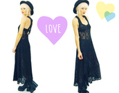 dress,lace,black,lace dress,sheer,see thru,maxi,90s style,grunge,vintage