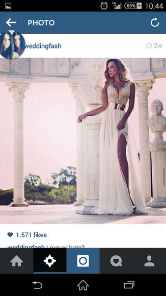 golden Belt wedding dress lace sexy dress