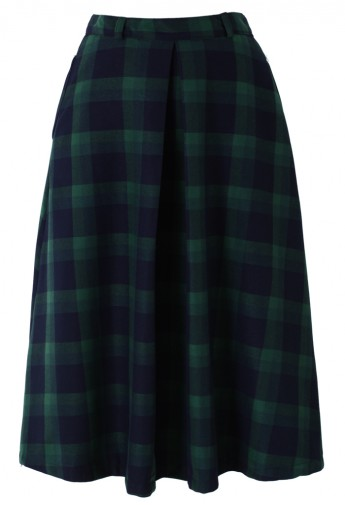 Green Plaid Check Midi Skirt - Retro, Indie and Unique Fashion