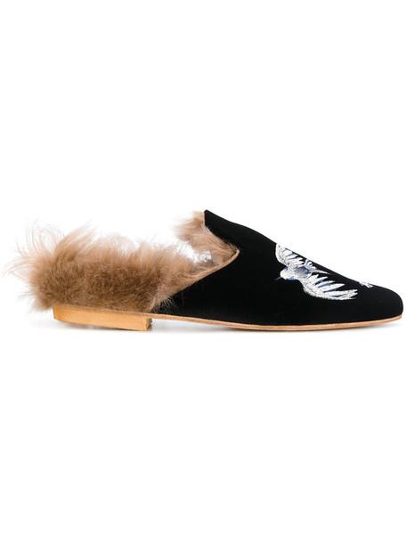 fur women mules leather black velvet shoes